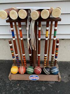 Vintage Forster Skowhegan Crocquet Set 6 Person Wooden Stand Ribbed Balls