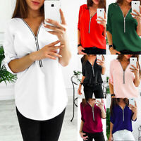 Casual Women V-Neck Zipper Blouse Loose Chiffon Shirt Long Sleeve Tops Plus Size