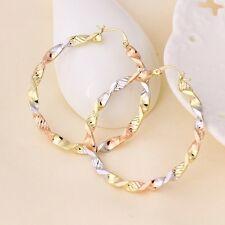 "9ct 9K Yellow Rose & White ""GOLD FILLED"" Ladies Large Hoop EARRINGS. 50mm Gift"