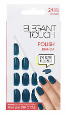 Elegant Touch 24 Polished False Nails in BIANCA With Glue & Buffer