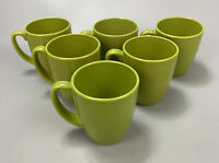 "Corelle Stoneware Lime Green Set of 6 Mugs Cups 12 oz 4"" Tall Coffee Tea"
