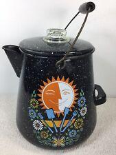 Large Vintage Enamel Ware Coffee Pot Cowboy Campfire 16-20 Cups Sun Moon Flower