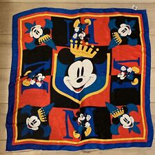 Vtg Mickey & Co. Bright Multi Color Scarf King Mickey 31x31 Inches