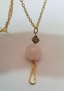 Rose Quartz & GOLD ID Badge Holder HANDMADE Chain Beads Lanyard Fashion Necklace