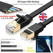 More details for cat7 gigabit high speed black rj45 network ethernet flat cable 10 gbps sstp uk