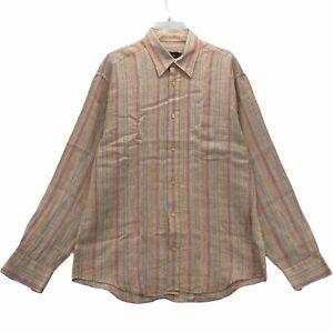 Bugatchi Uomo Men's Long Sleeved Dress Shirt Size Medium 100% Linen Multi Color