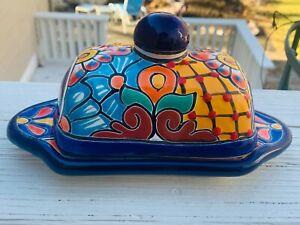 "Talavera Butter Dish Mexican Hand Painted Ceramic Kitchen 6x3x2 Dish-8"" E"