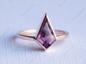 Sterling Silver Ring Natural Purple Amethyst Kite Shape Gemstone Ring For Woman