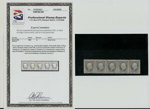 "1881 US Stamp Scott 206 1 cent  5 Strip. GRAY BLUE. UNUSED. PSE ""ERROR"""