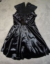 OASIS Dress Size 10 Black Velvet and Lace Cocktail Dress