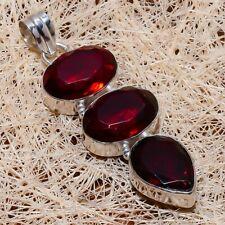 "Gift Jewelry Pendant 2.48"" m407 Mozambique Garnet Gemstone Ethnic Handmade"