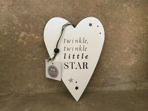 Heaven Sends white wooden Twinkle Little Star hanging heart 18cm