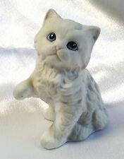 White Cat Figurine Homco Ceramic Bisque Angora Persian Blue Eyes Pink Nose