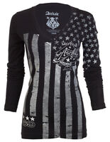 Archaic AFFLICTION Womens LS T-Shirt NATION Motorcycle Biker USA FLAG Sinful $58