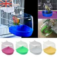 Bird Water Bath Tub For Pet Bird Cage Hanging Bowl Parrots Parakeet Birdbath LO