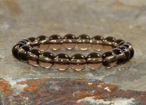 Smoky Quartz 8 mm Round Loose Beads For Men Women Jewelry 2 Stretch Bracelet