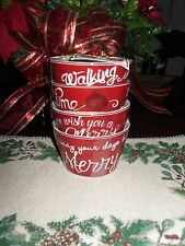 """222 FIFTH """"CHRISTMAS TUNES"""" SET OF 4 APPETIZER/DESSERT BOWLS NEW"""