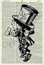 ORIGINAL Mad Hatter Alice in Wonderland Vintage Dictionary Page Art Print 221D