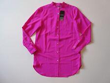 NWT LAUREN Ralph Lauren Exotic Pink Bib Front L/S Button Down Tunic Shirt XS