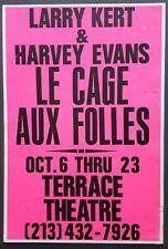 LA CAGE AUX FOLLES Original Promo Theatre Poster 1988 Larry Kert/Harvey Evans