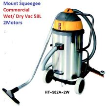 58L 15 or 16 gal Commercial wet dry vac mounted squeegee 2 motors 1000 W New