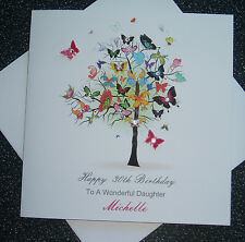 HANDMADE PERSONALISED BIRTHDAY CARD,BUTTERFLY  TREE