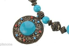 """22"""" Faux Turquoise & Coral Vintage Style Medalion & Wood Necklace"""