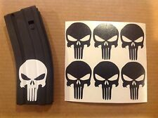 Punisher Skull Sticker 6 pack, M4, AR, AK Magazine Sticker!  BLACK!