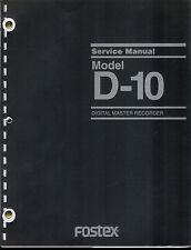 Good Complete *COPY* Fostex Model D-10 Digital Master Recorder Service Manual