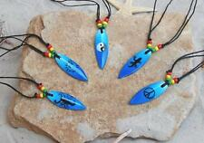10 Blue Wooden Surfboard Necklaces Surf Bead / N081gybl
