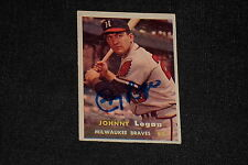 JOHNNY LOGAN 1957 TOPPS SIGNED AUTOGRAPHED CARD #4 BRAVES