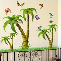 Tropical Coconut Palm Tree Wall Stickers Kids Nursery Bedroom Vinyl Art Decals