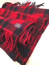 "Vtg Pendleton 100% Virgin Wool Plaid Throw Stadium Blanket Robe in a Bag 53""x75"""