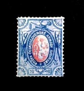 Czechoslovakia 1919, -25k Blue, Legion Post Siberia, Invert Cent $28000,Replica
