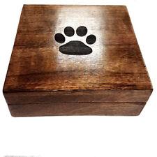 Cremation Urn Ashes Box Pet Urn Dog Urn Cat Urn Engraved 14x14x7cm Paw Print