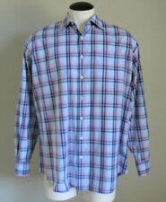 Peter Millar Men's Long Sleeve Button Up Blue & Purple Plaid Cotton Shirt Medium