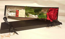 Single Red Rose in Silk Lined Box Artificial Flower Love Valentines Gift Her Him