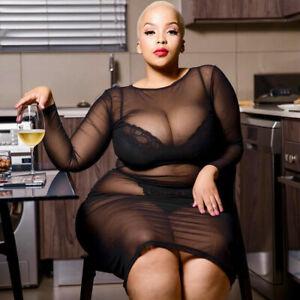 Sexy Black Sheer Plus Size See Through MESH Long Sleeve Net Dress 10 - 22