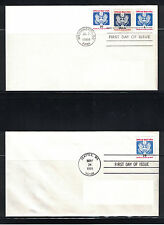 US Stamps 1989-1991: #O143 & O145 Officials on 2 AD FDCs- Lot#7/19