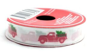 """3 yds Christmas Red Farm Pickup Truck 5/8""""  Ribbon for Scrapbooking and Crafts"""