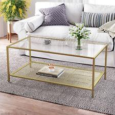 Table Basse, Table de Salon, avec Dessus en Verre, étagère en Maille LGT031A01