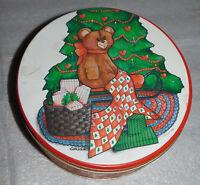 Cookie Tin Christmas Round Teddy Bear Tree Beth White 1988 Metal Presents 8 Inch