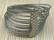 Fashion Bracelet Silvertone Connected Set 13 Textured Thin Bangle Wide