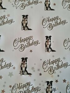 BORDER COLLIE  DOG PET PRESENT HAPPY BIRTHDAY GIFT WRAPPING PAPER 60cm