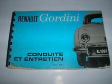 RENAULT DAUPHINE GORDINI LIVRE CONDUITE ET ENTRETIEN ORIGINE D'EPOQUE