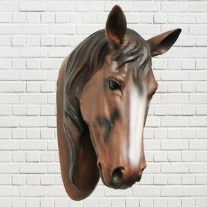 Pferdekopf Wand Figur Skulptur Horse Pferd Büste Kopf Deko  Braun #1523a