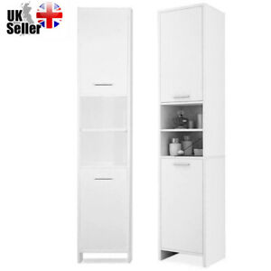 6FT Modern White Bathroom Bedroom Cabinet Cupboard Storage Shelf Furniture Tall