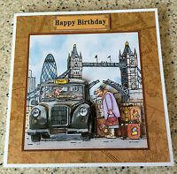 "Handmade Birthday 3D decoupage card taxi driver black cab cabbie london 6"" x 6"""