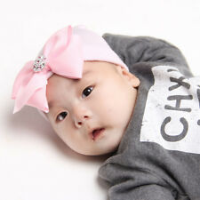 Baby Hats 0-3 Months Newborn Big Bow Knot Pink Diamond Stripe Hat Accessorie