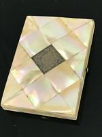 Antique Vintage VICTORIAN MOTHER OF PEARL AND SILVER Cartouche CARD CASE